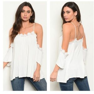 ⭐️COMING SOON⭐️White off shoulder lace trim top